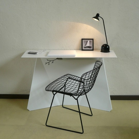 Beautiful Minimalist Desk With Cable Stripe For Contemporary Home